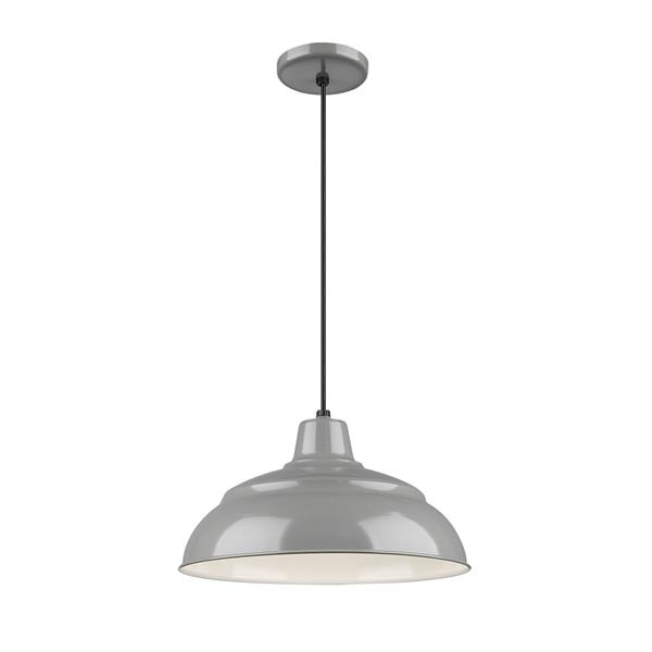 Millenium Lighting R Series Warehouse 1-Light Cord Hung Pendant Light - 14-in - Gray