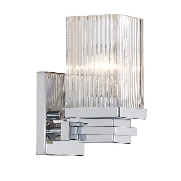 Millenium Lighting 1-Light Vanity Light With Clear Fluted Glass - Chrome