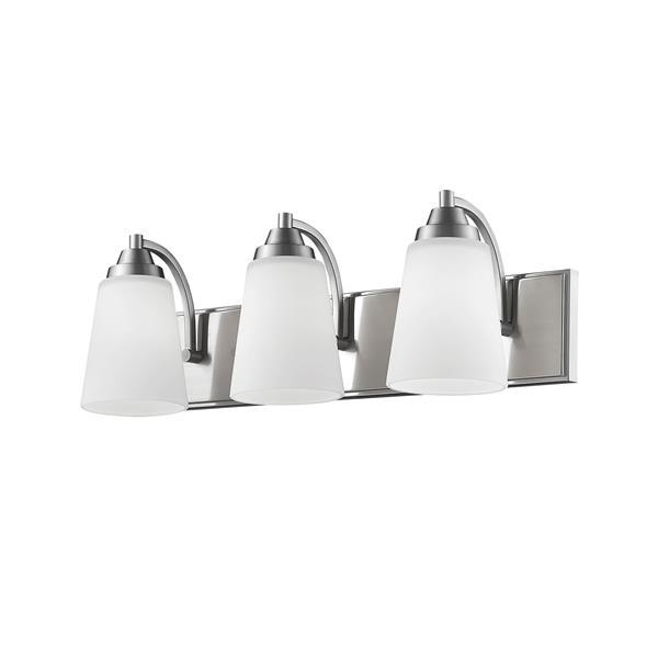 Millenium Lighting 3-Light Vanity Light With Etched White Glass - Satin Nickel