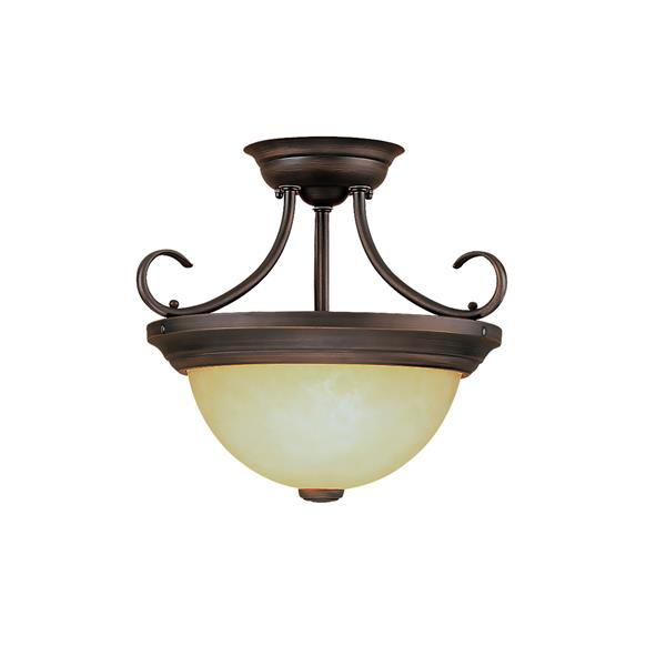 Millenium Lighting Semi-Flush Mount Light With Turinian Scavo Glass - 2 Lights - 13-in - Rubbed Bronze