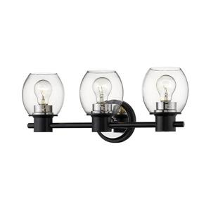 Millenium Lighting 3-Light Vanity Light With Clear Glass - Matte Black/Polished Nickel