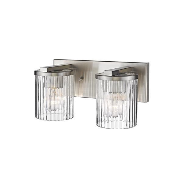 Millenium Lighting 2-Light Vanity Light With Clear Glass - Satin Nickel