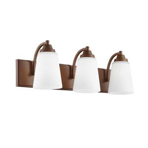 Millenium Lighting 3-Light Vanity Light With Etched White Glass - Rubbed Bronze
