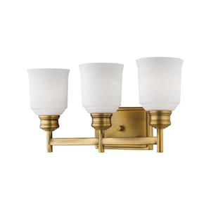 Millenium Lighting Burbank 3-Light Vanity Light With Etched White Glass - Heirloom Bronze