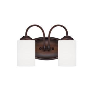 Millenium Lighting Lansing 2-Light Vanity Light With Etched White Glass - Rubbed Bronze