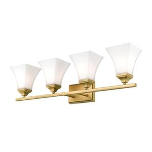 Millenium Lighting 4-Light Vanity Light With Etched White Glass - Heirloom Bronze