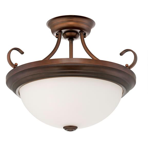 Millenium Lighting Semi-Flush Mount Light With Etched White Glass - 15-in - 2 Lights - Rubbed Bronze
