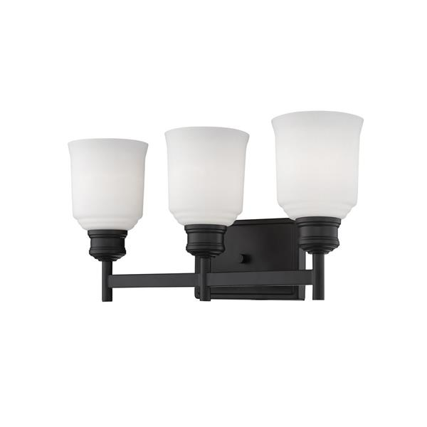 Millenium Lighting Burbank 3-Light Vanity Light With Etched White Glass - Matte Black