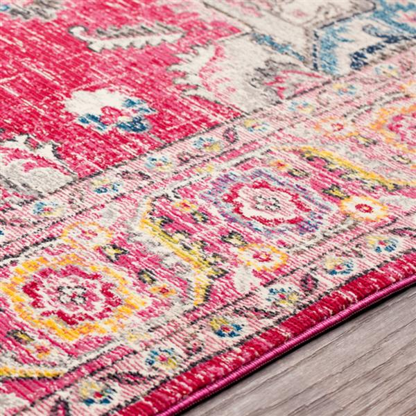 Surya Aura Silk updated traditional area rug - 7-ft 10-in x 10-ft 3-in - Rectangular - Pink