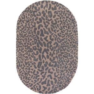 Surya Athena  hide, leather & fur area rug - 6-ft x 9-ft - Oval - Charcoal