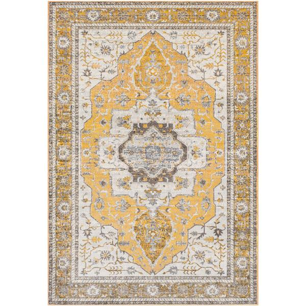 Surya Aura Silk updated traditional area rug - 7-ft 10-in x 10-ft 3-in - Rectangular - Yellow