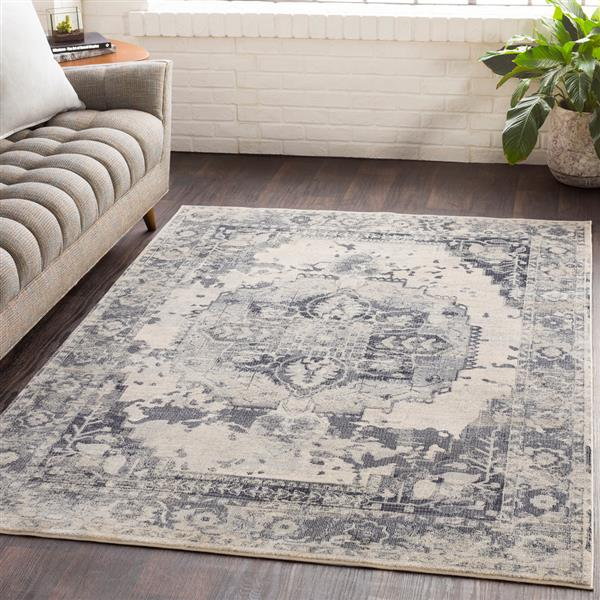 Surya Aura Silk updated traditional area rug - 7-ft 10-in x 10-ft 3-in - Rectangular - Grey