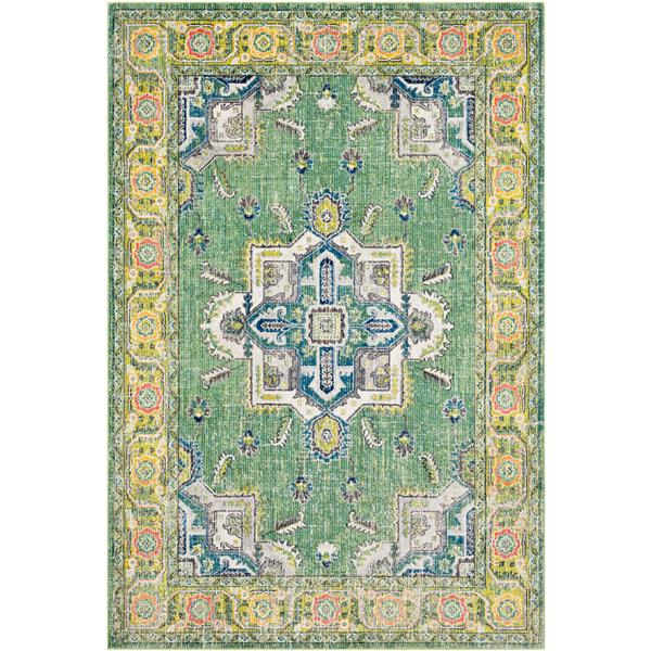 Surya Aura Silk updated traditional area rug - 7-ft 10-in x 10-ft 3-in - Rectangular - Lime