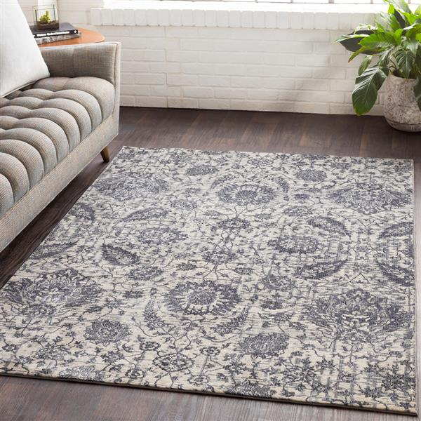Surya Aura Silk updated traditional area rug - 5-ft 3-in x 7-ft 6-in - Rectangular - Grey
