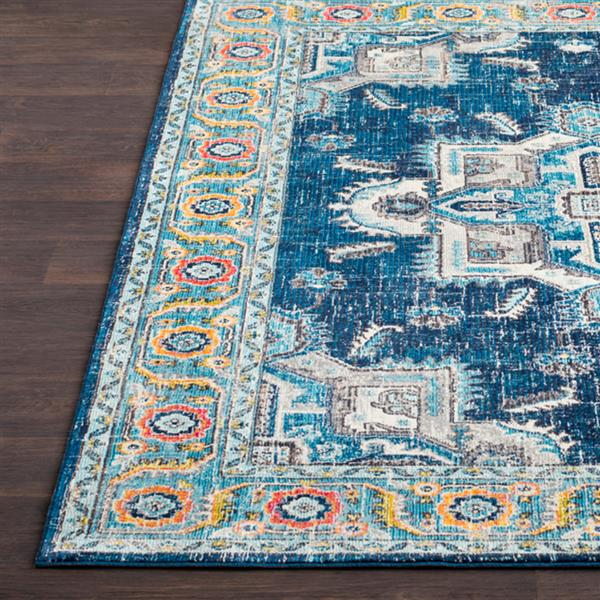 Surya Aura Silk updated traditional area rug - 5-ft 3-in x 7-ft 6-in - Rectangular - Navy