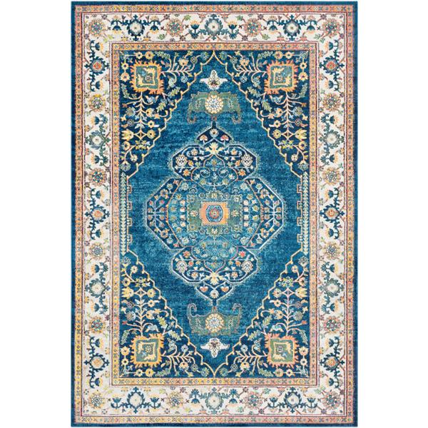 Surya Aura Silk updated traditional area rug - 5-ft 3-in x 7-ft 6-in - Rectangular - Blue