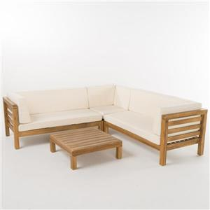 Best Selling Home Decor Belle Patio Set - Sectional Sofa with Coffee Table - Cream - Set of 4