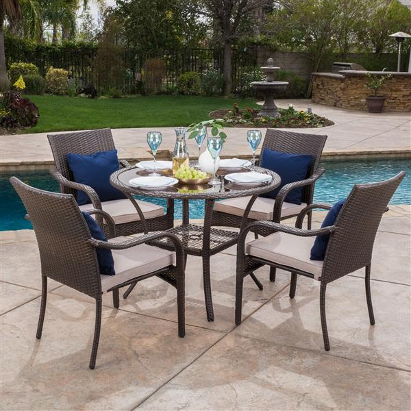 Best Selling Home Decor Amaryllis Pico Patio Dining Set - Brown Wicker - Set of 5