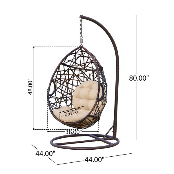Best Selling Home Decor Cutter Outdoor Hanging Chair - 38-in x 23.5-in - Brown Wicker