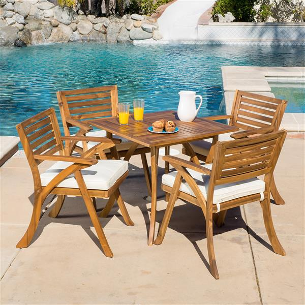 Best Selling Home Decor Indira Patio Dining Set - Acacia Wood - Set of 5
