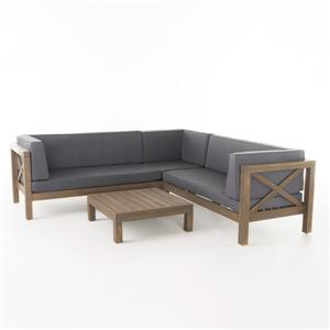 Best Selling Home Decor Belle Patio Set - Sectional Sofa with Coffee Table - Grey - Set of 4