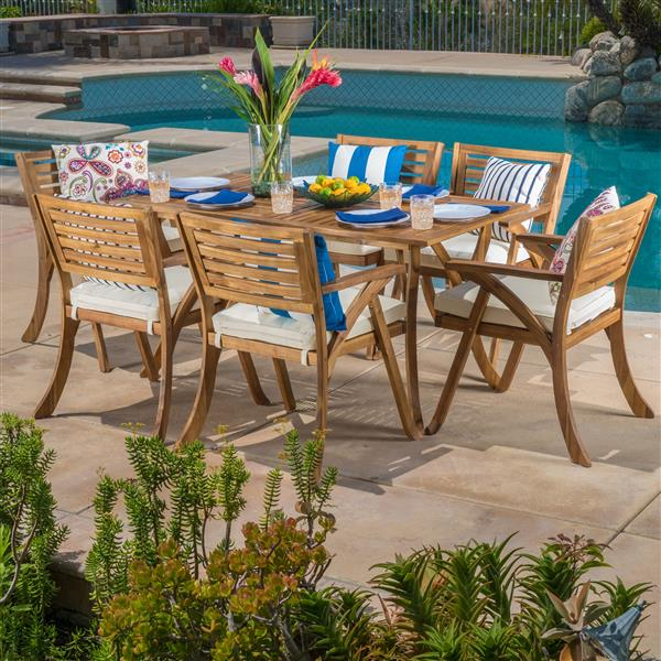 Best Selling Home Decor Cytheria Patio Dining Set - Acacia Wood - Set of 7