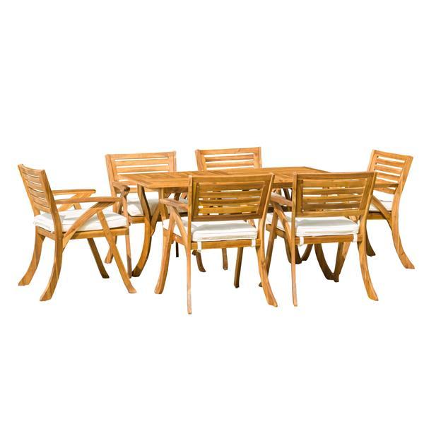 Ensemble à dîner pour patio Cytheria de Best Selling Home Decor, bois d'acacia, ens. de 7