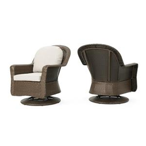 Best Selling Home Decor Roderick Outdoor Swivel Club Chairs - Brown Wicker - Set of 2