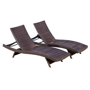Chaise longue ajustable Tiki de Best Selling Home Decor, brun, ens. de 2