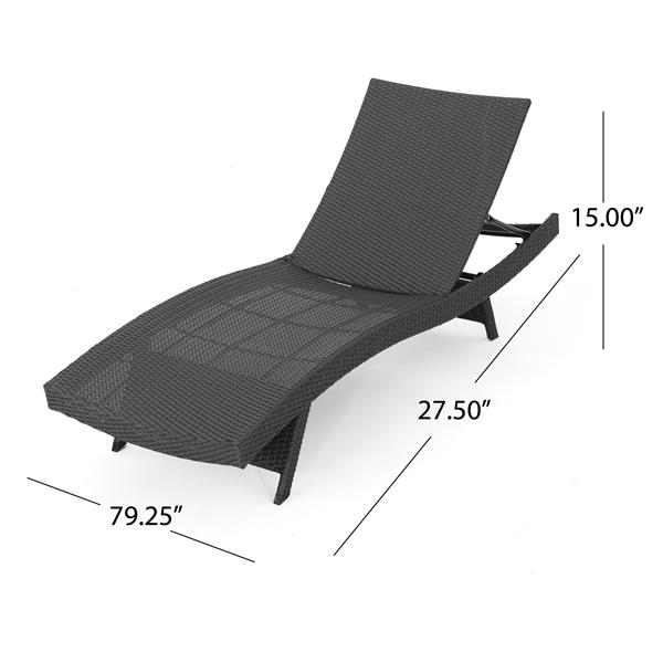 Chaise longue Loma de Best Sellong Home Decor, osier gris foncé