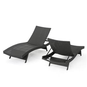 Chaise longue en osier Loma de Best Sellong Home Decor, brun, ens. de 2