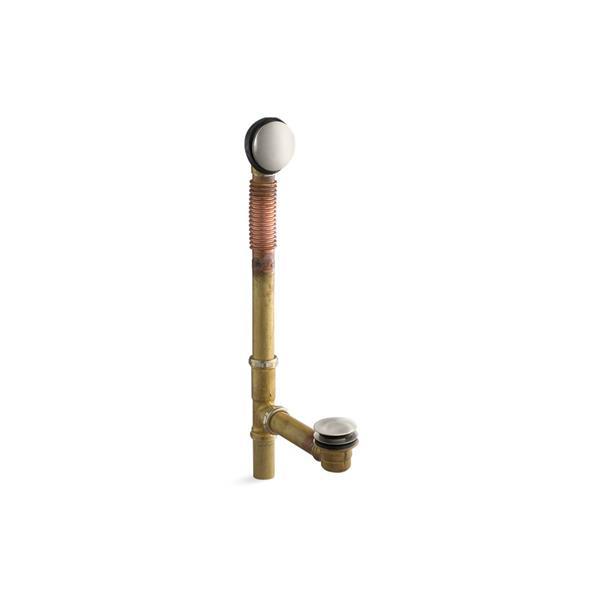 Drain pour bain à commande au pied Clearflo de KOHLER, 1,5po, nickel brossé