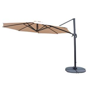 Oakland Living Cantilever 11-ft Umbrella and Gray Stand - 5-piece set - Beige