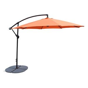 Oakland Living Cantilever 10-ft Umbrella and 4-Piece Weights and Gray Stand- Orange