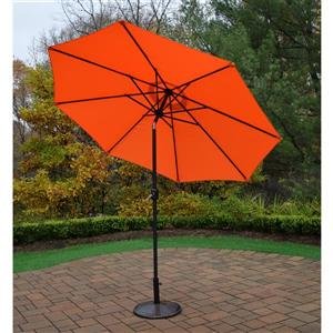 Oakland Living 9-ft Umbrella with Crank & Tilt System - Black Stand - Orange