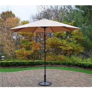 Oakland Living 9-ft Umbrella with Crank & Tilt System - Black Stand - Champagne