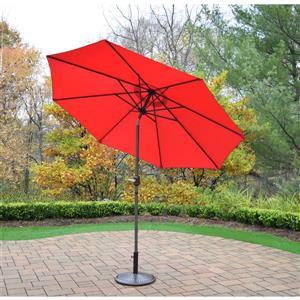 Oakland Living 9-ft Umbrella with Crank & Tilt System - Brown Stand - Red