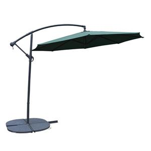 Oakland Living Cantilever 10-ft Umbrella and 4-Piece Weights and Gray Stand- Green