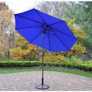 Oakland Living 9 Ft Umbrella with Crank & Tilt System - Brown Stand - Blue