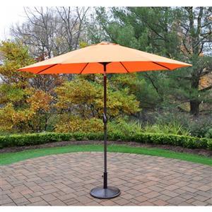 Oakland Living 9-ft Umbrella with Crank & Tilt System - Brown Stand - Orange