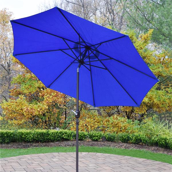 Oakland Living 9-ft Umbrella with Crank and Tilt System - Blue and Brown