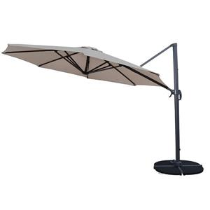 Oakland Living Cantilever 11-ft Umbrella and Black Stand - 5-Piece Set - Beige