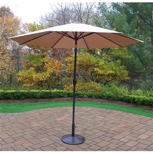 Oakland Living 9-ft Umbrella with Crank & Tilt, Cast Iron Stand - Champagne