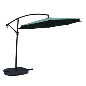 Oakland Living Cantilever 10-ft Umbrella and 4-Piece Weights and Black Stand- Green