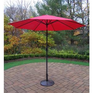 Oakland Living 9-ft Umbrella with Crank & Tilt System and Black Stand - Red