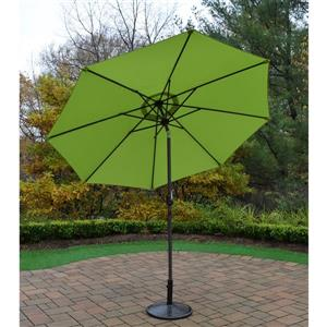 Oakland Living 9-ft Umbrella with Crank & Tilt System, Brown Stand - Green