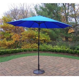 Oakland Living  9-ft Umbrella with Crank & Tilt -  Black Iron Stand - Blue