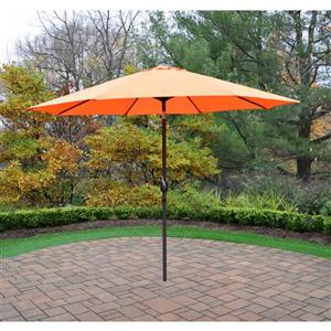 Oakland Living 9-ft Umbrella with Crank and Tilt System - Orange and Brown