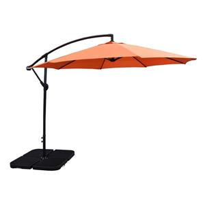 Oakland Living Cantilever 10-ft Umbrella and 4-Piece Weights and Black Stand- Orange