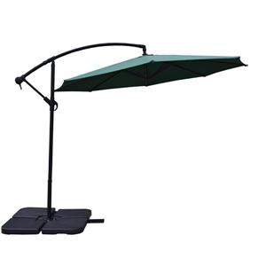 Oakland Living Cantilever 10-ft Umbrella with Fillable Weights and Black Stand - Green